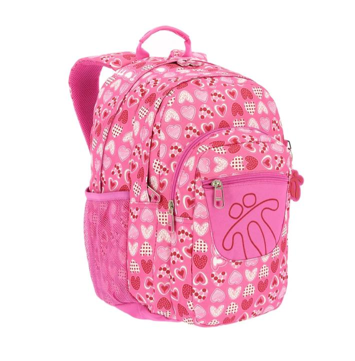 PINK TOTTO PENCIL BACKPACK WITH COLOURFUL PRINTS