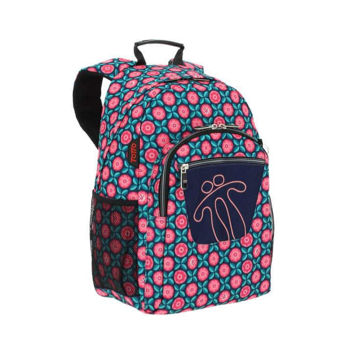 TOTTO ACUARELES DARK BLUE BAG WITH COLOURFUL PRINTS