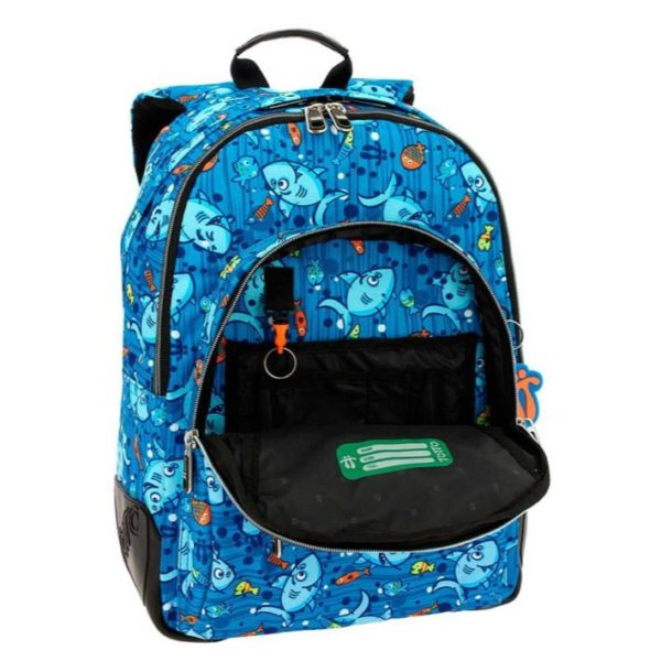 TOTTO CRAYOLA BLUE BACKPACK WITH COLOURFUL PRINTS